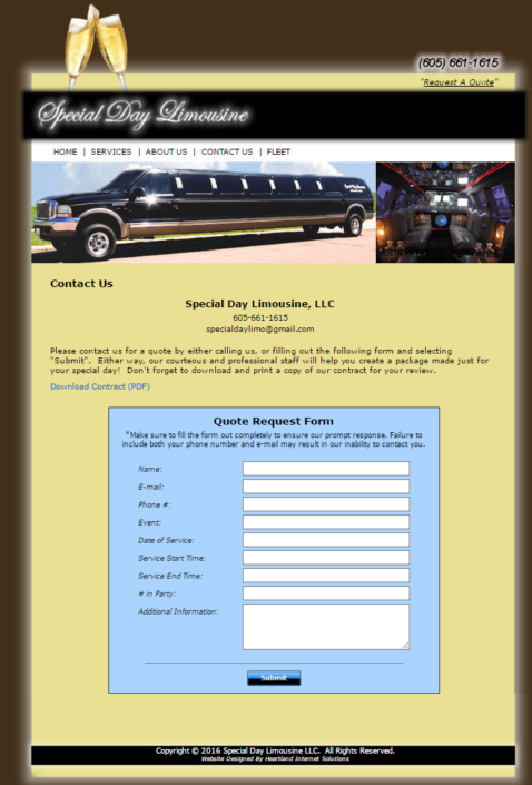 Special Day Limousine Website