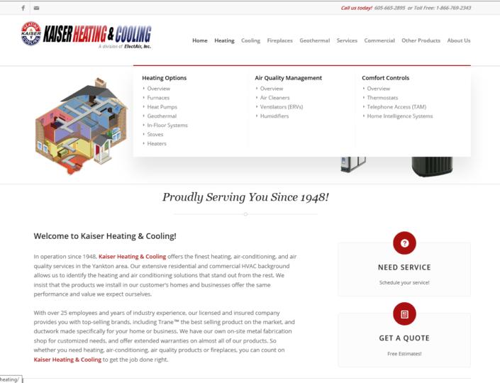 Kaiser Heating & Cooling Website
