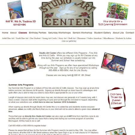 Studio Art Center Website