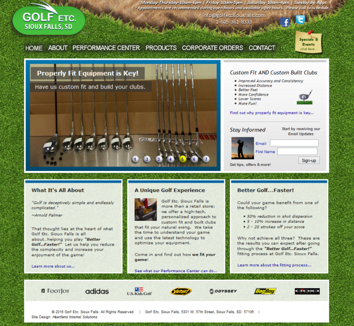 Golf Etc. Sioux Falls Website