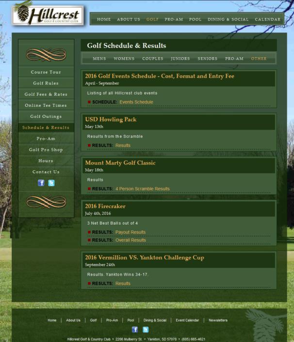 Hillcrest Website
