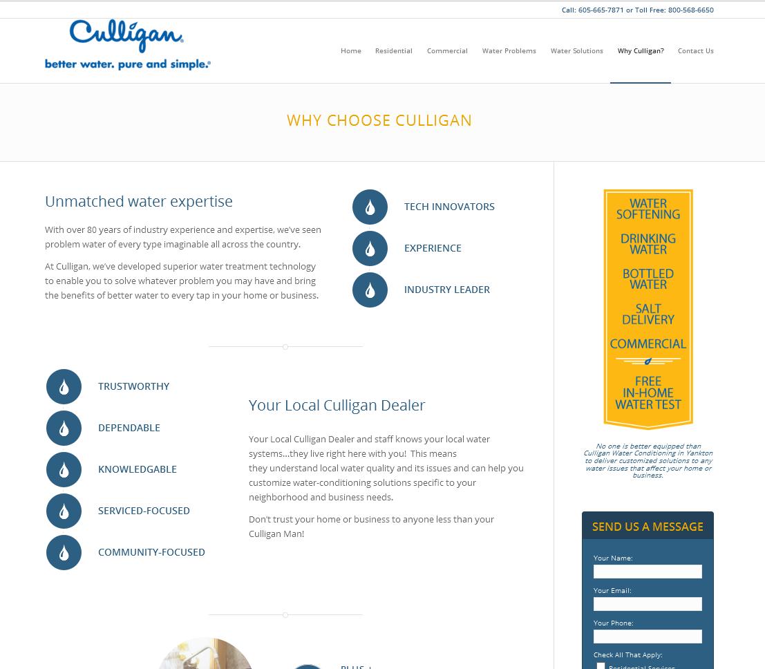 Culligan Water Conditioning in Yankton Website
