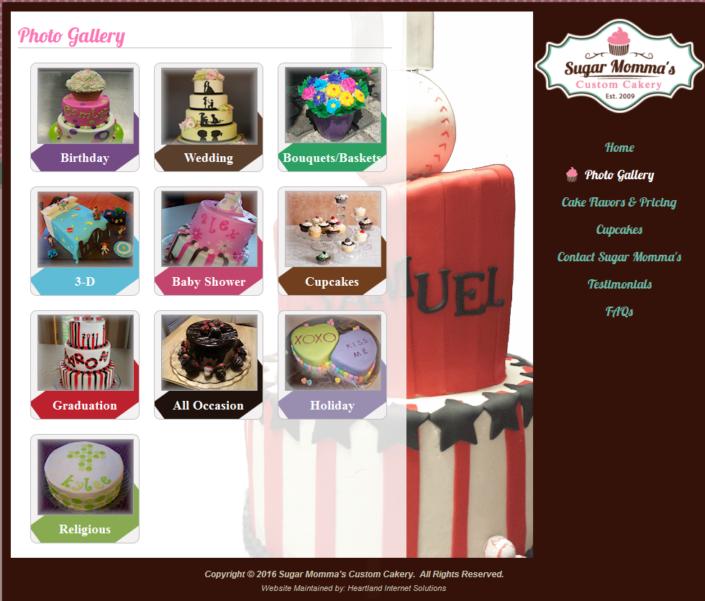 Sugar Momma's Custom Cakery Website
