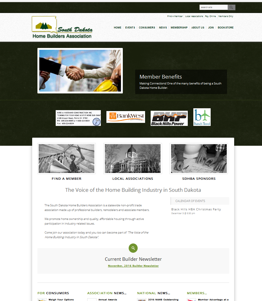 South Dakota Home Builders Association Website
